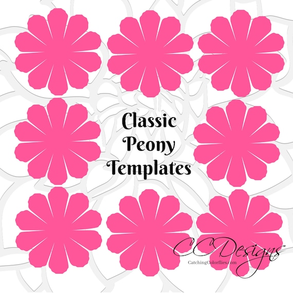 Paper flower printable templates DIY Peony paper flowers PDF | Etsy