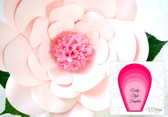 Large Pink Paper Flowers Flower Templates Diy Giant Flower Etsy