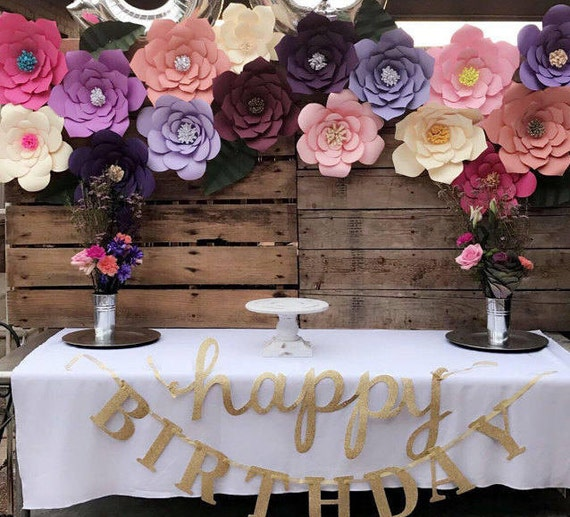 Diy giant paper flowers templates for birthday backdrop decor etsy image 0 mightylinksfo