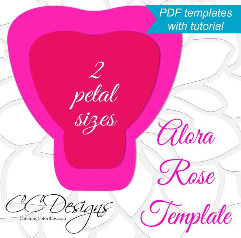 Printable Pdf Paper Rose Templates Giant Paper Rose Flower Templates With Tutorial Large Flower Template