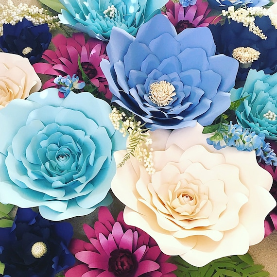 Paper flower backdrop giant paper flowers large paper etsy image 0 mightylinksfo