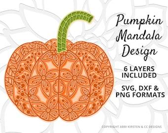 Halloween Pumpkin Mandala Svg, Sunflower Pumpkin Mandala, 3D Mandala Pumpkin SVG DXF and PNG image
