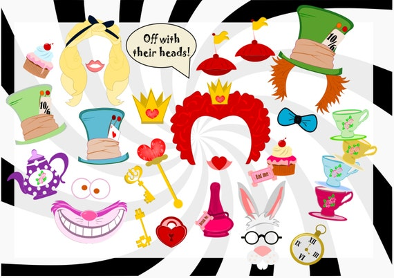 Alice In Wonderland Birthday Party Photo Booth Props Alice In
