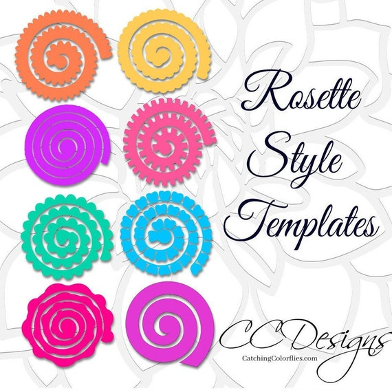 Paper Flower Rolled Rosette Templates Printable Pdf Rolled Etsy