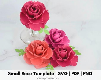 Small Paper Rose Template SVG and PDF Files with Tutorial, Paper Roses Wedding, Bridal Shower, Baby Shower, Birthday,Instant Download