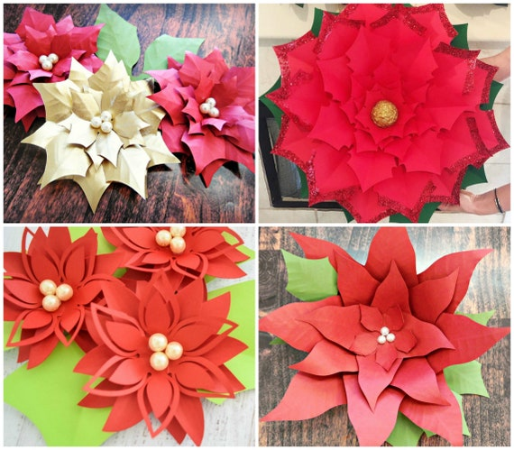 Small And Large Christmas Paper Flower Poinsettia Templates Paper