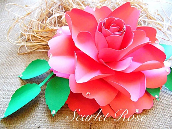 Large Paper Rose Flower Templates And SVG Files DIY Paper Etsy
