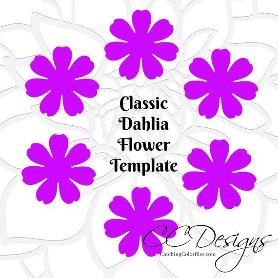 Small Dahlia Paper Flower Template DIY Flowers