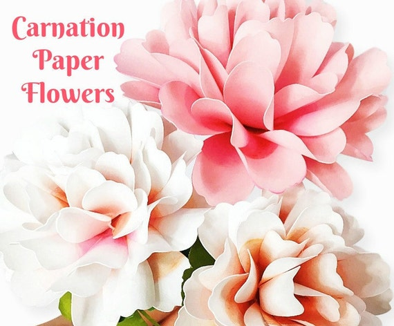 Carnation Style Paper Flowers DIY Paper Flower Templates Tutorial