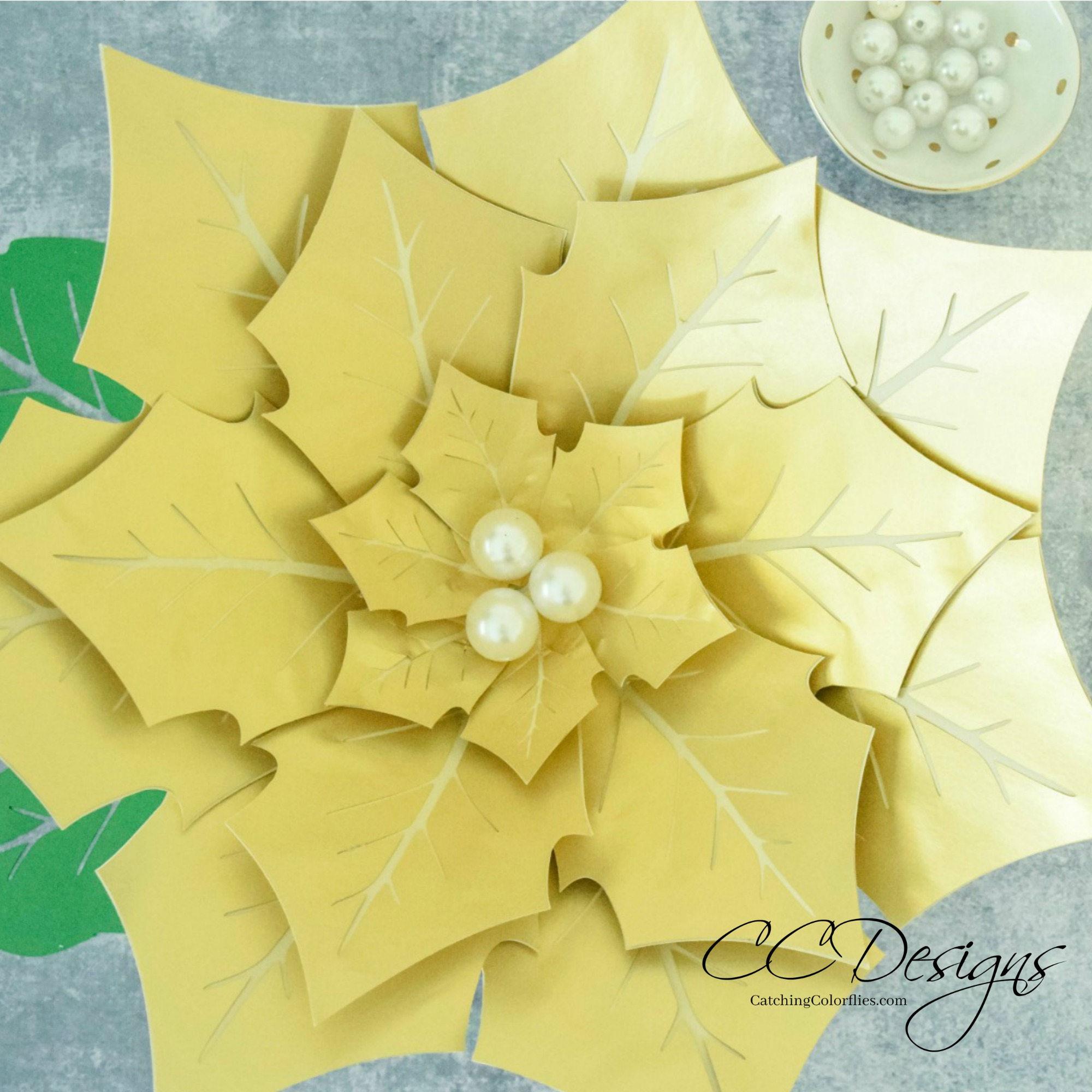 Giant Paper Poinsettia Flowers Paper Flowers Printable Flower Templates Tutorial Christmas Flowers Christmas Decor
