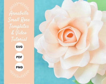DIY Small Paper Rose Template Pattern, SVG cut files and PDF printables, Paper Flowers for Weddings, Baby Showers and Bridal Showers