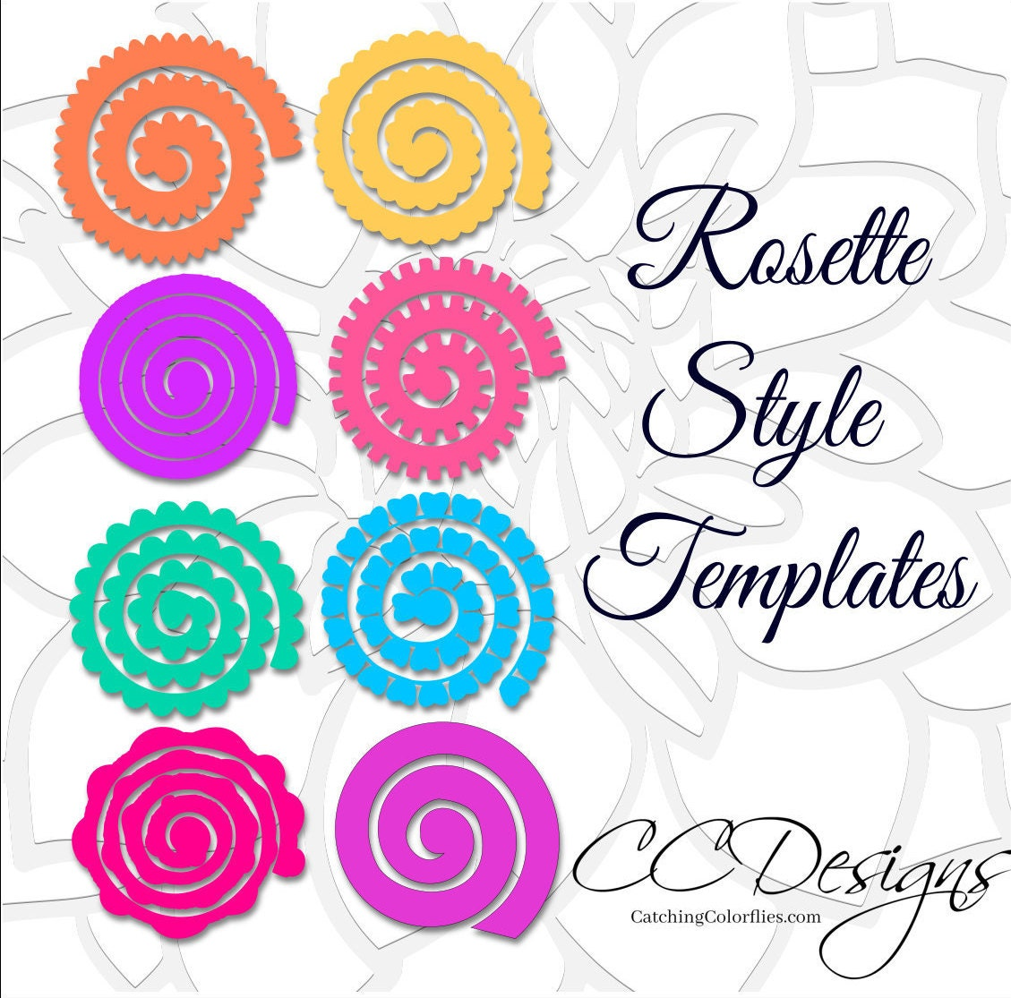 Paper Rolled Rosette Templates Diy Paper Flowers Printable Pdf