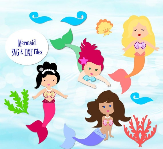 Svg Mermaid Cut Files Svgs For Cricut Cutting Files For Silhouette Mermaid Dxf Files Under The Sea Svg Files By Catching Colorflies Catch My Party