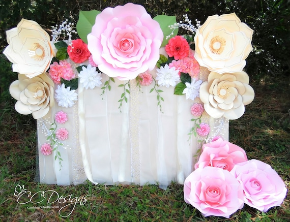 Paper Flower Rose Backdrop DIY Paper Flower Patterns And Etsy