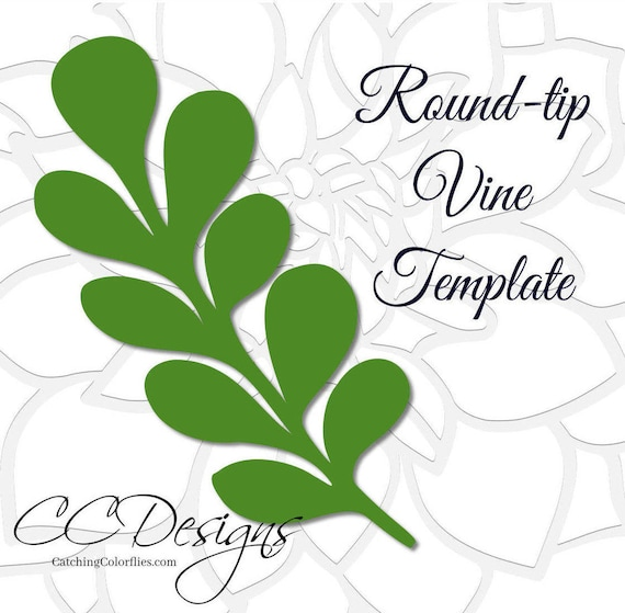 round tip vine leaf template paper vine templates paper leaf etsy