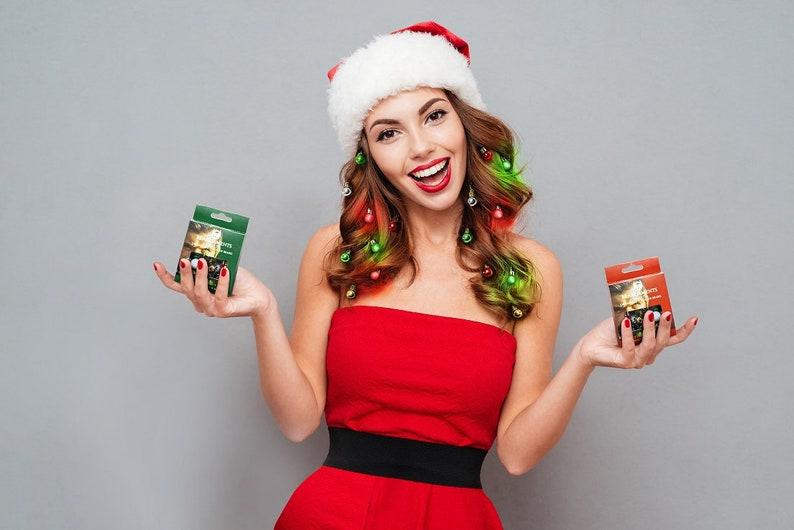 Beardaments Women/'s Hair Lights 16pc Christmas Costume Ugly Sweater Women Girl Light Up Hair Ornaments