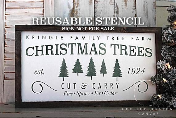 Christmas Stencil Tree Farm Reusable Stencil Shipped Fast