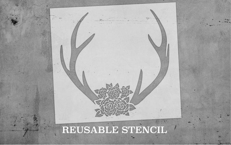 Antlers & Roses STENCIL  Laser Cut  Reusable  Multiple image 0