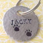 Personalized dog pendant, hammered, custom order, paws