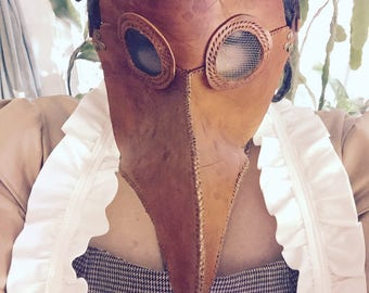 Leather plague doctor mask- handmade, many colors, steampunk, Halloween, Cosplay, Renaissance fair