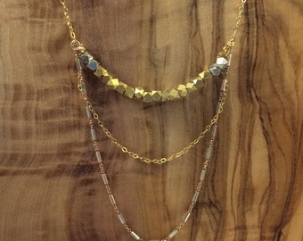 Mid-length Mixed Metals Layered Necklace