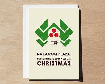 Die Hard Christmas Greeting Card, pop culture Christmas card, action movies, Hans Gruber, Yippee Ki Yay art