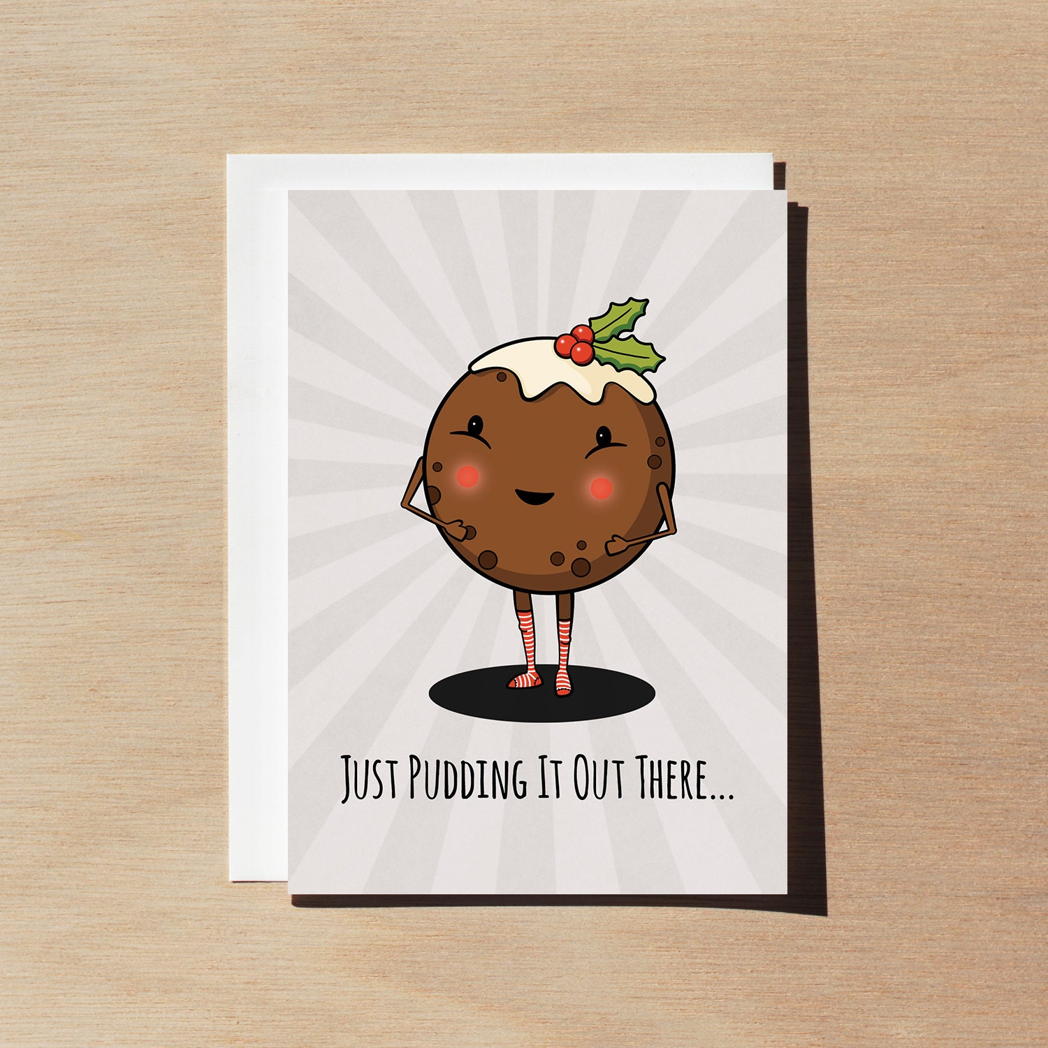 Cute funny Christmas Card Just Pudding it out There Xmas | Etsy