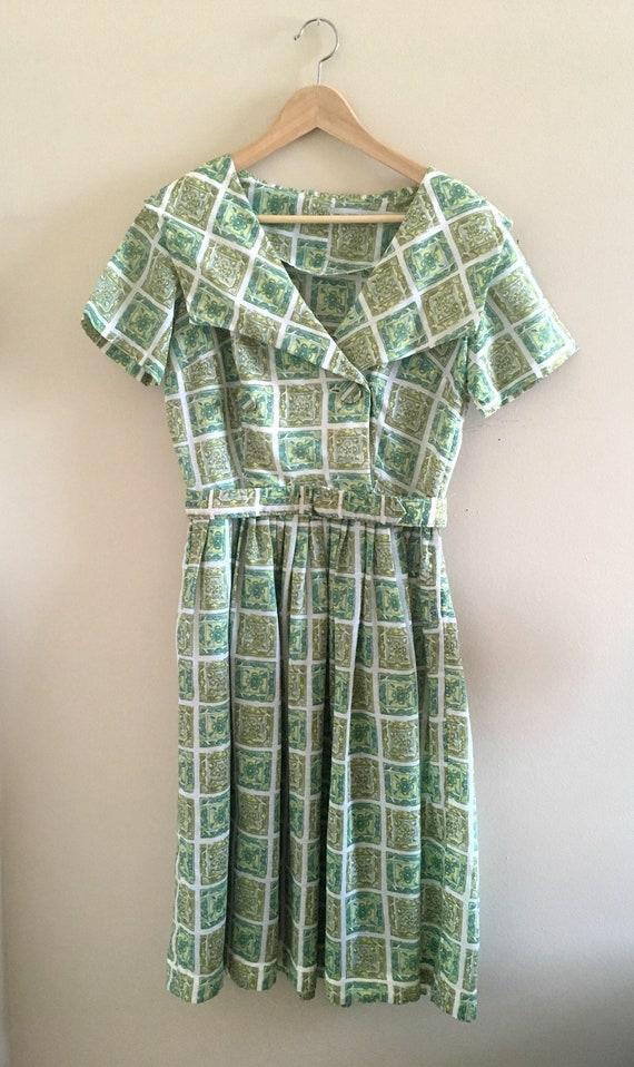 1950s Dress // Green Patterned Dress // Vintage 50