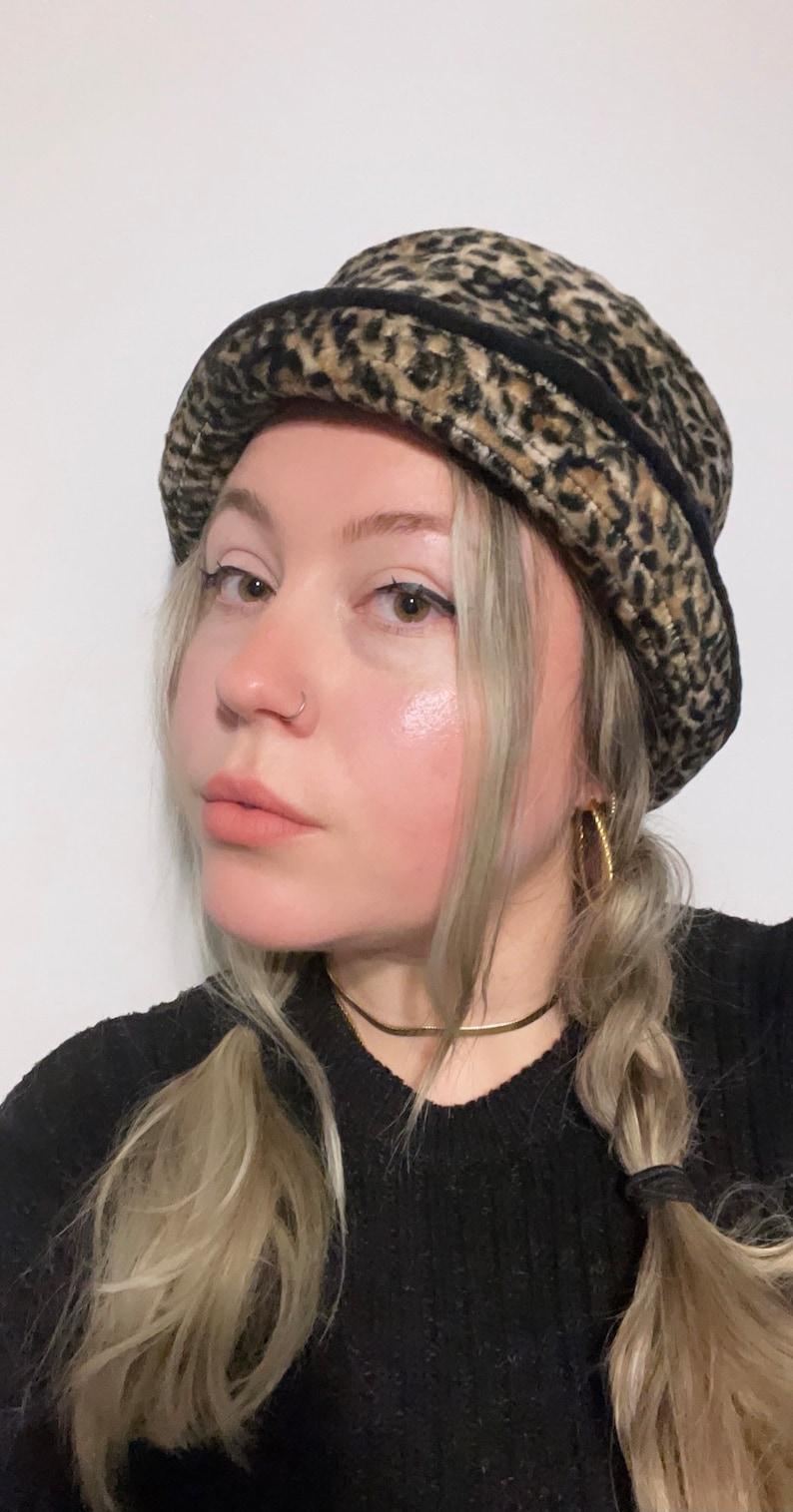 Vintage Leopard Bucket Hat  90s  Jessica  Faux Fur