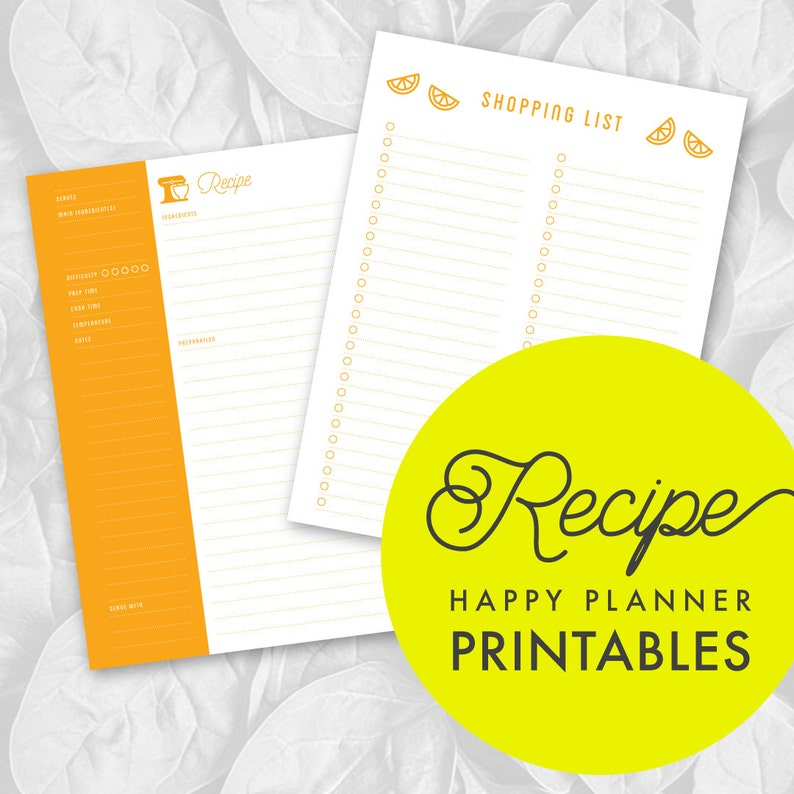 This is a picture of Happy Planner Recipe Printable in weekly