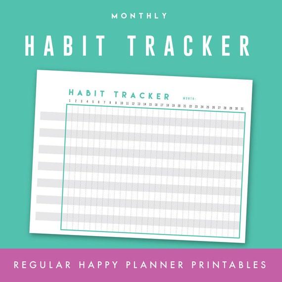 habit goal tracker printable regular happy planner undated etsy