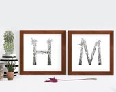 Artistic Letters - Personalised Monogram - Baby Door Sign - Baby Name - Artwork - Drawing - Print - Gift - Black and white wall art