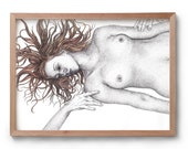 The Recipient - Embrace - Nude Art - Artwork - Drawing - Print - Valentines Gift