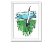The Lonely Brolga - landscape -  Bird song - Artwork - Drawing - Print- Mothers Day