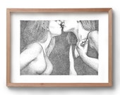 Love & Lust - Kiss - Artwork - Drawing - Print - Gift for Her - Black and white wall art - Lesbian - LGBTQIA+