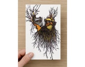 Card - Bearded man - Wild Man - For Him - Card for Him - Birthday Cards - Anniversary Cards - Blank Cards - Art Cards - Valentines Card
