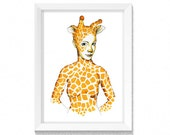 Artwork - Spirit Animal - Giraffe Lady - African Princess - Drawing - Print- Mothers Day