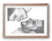 Love & Lust - Kiss - Artwork - Drawing - Print - Gift for Her - Black and white wall art - Fathers Day