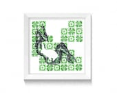 Alice in Wonderland - Easter Bunny - Pregnant Lady- New baby - Fertility - Lady with a rabbit - Green wall art- Mothers Day