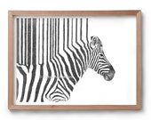 Zebra Drawing - Stripes Drawing - Animal Drawing - African Animals - Artwork - Drawing - Print - Gift - Black and white wall art