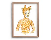 Artwork - Spirit Animal - Giraffe Lady - African Princess - Drawing - Print- - Valentines Gift