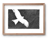 Absence of an Eagle - Bird Drawing - Flying Bird - Artwork - Drawing - Print - Gift for Him - Black and white wall art - Valentines Gift