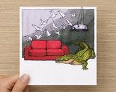 Card - Crocodile in the Loungeroom - Greeting Cards - Birthday Card