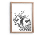 Dance - Artwork - Drawing - Print - Gift for Her - Black and white wall art