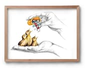 Artwork - Because I Love You - Baby Birds - Drawing - Artist Print - Wall Art