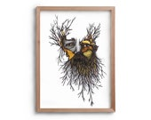 Wild Man - Bearded Man - Gift for Him - Tree - Artwork - Drawing - Print