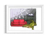 Crocodile in the Loungeroom - Birds in flight - Artwork - Drawing - Print