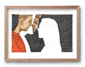 Absence of a Kiss - Artwork - Drawing - Print - Valentines Gift