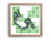 Alice in Wonderland - Easter Bunny - Pregnant Lady- New baby - Fertility - Lady with a rabbit - Green wall art-