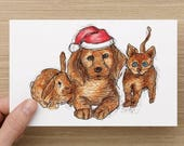 Cute Christmas Cards - Baby Animals Wearing Christmas Hats - Bunny - Puppy - Kitten